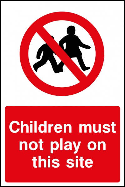 Children must not play on site sign