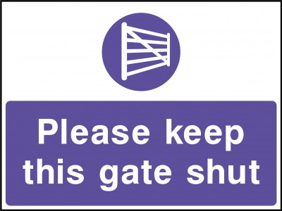 Keep gate shut sign