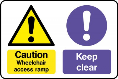 Wheelchair access keep clear sign