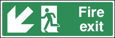 Fire Exit Left Down Sign