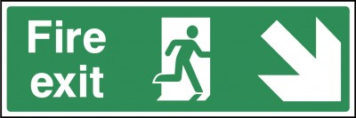 Fire Exit Right Down Sign