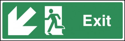 Exit down left sign
