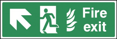 Fire Exit Up Left Sign