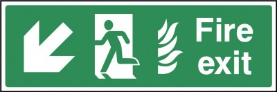 Fire exit down left sign
