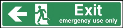Exit Emergency Use Only Left Sign