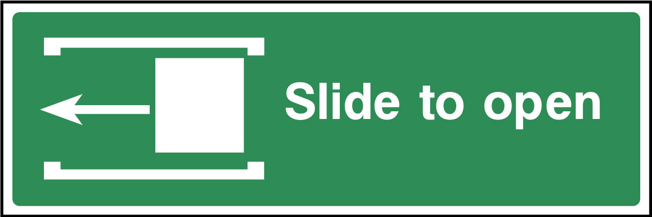 Slide Left To Open Sign Health And Safety Signs
