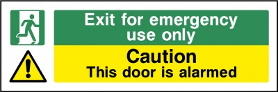 Emergency Exit Alarmed Door Sign