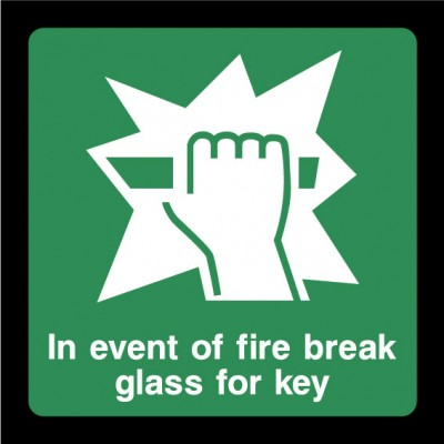 In Event Of A Fire Break Glass For Key Sign