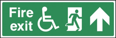Disabled fire exit ahead sign