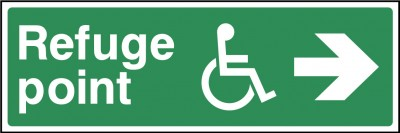 Disabled refuge point right sign