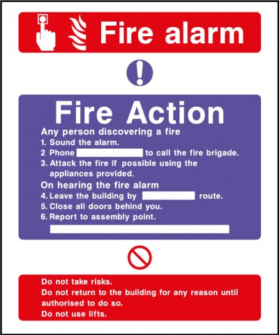 Fire action safety sign – fire alarm
