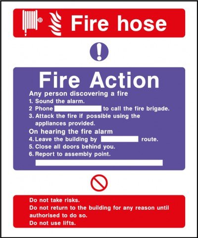 Fire action safety sign – fire hose