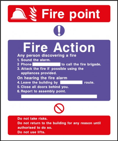 Fire action safety sign – fire point