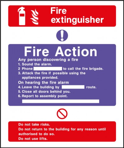 Fire action safety sign – fire extinguisher