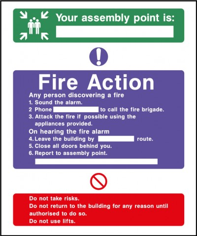 Fire action safety sign – assembley point