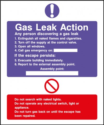 Fire action safety sign – gas leak action