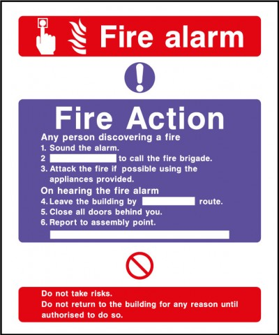 Fire action safety sign – fire action