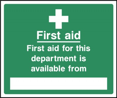 First aid for this department is located from sign
