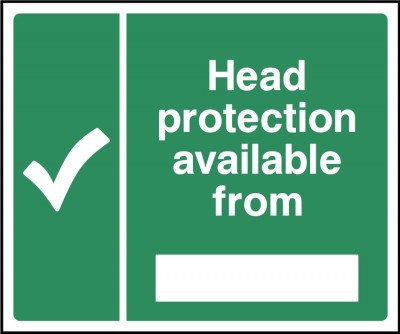 Head protection is available from sign