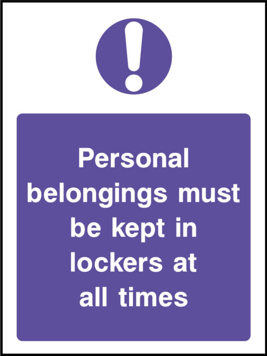 Personal Belongings Sign Health And Safety Signs