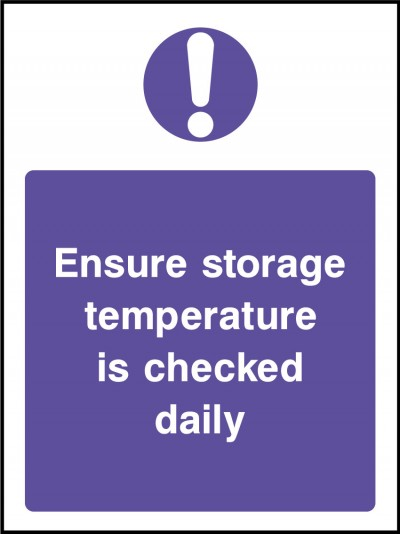 Storage temerature sign