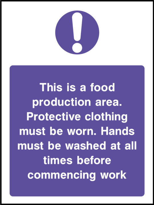 Food Production Area Sign Health And Safety Signs