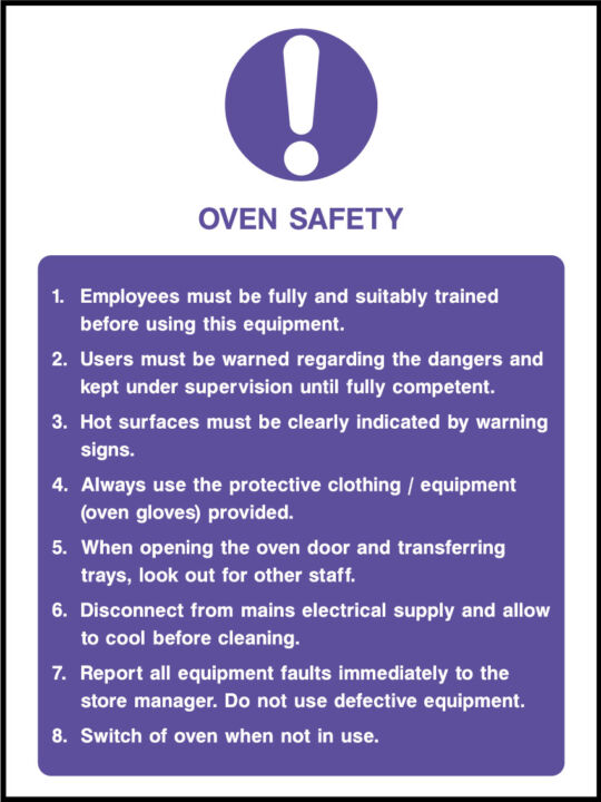 Oven Safety Sign Health And Safety Signs