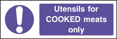 Utensils for cooked meats only sign