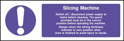 Slicing machine sign