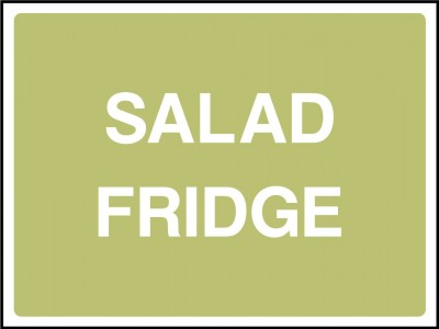 Salad fridge sign