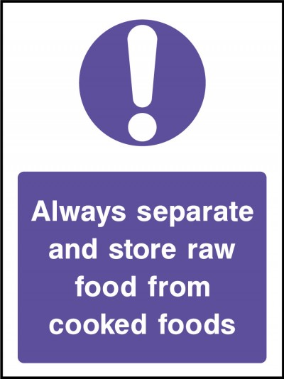 Seperate raw and cooked foods sign