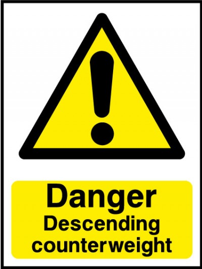 Danger decending counterweight sign