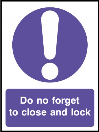 Close and lock sign