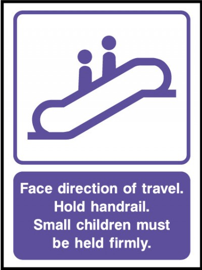 Face direction of travel sign
