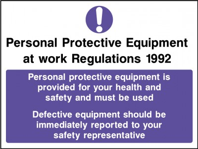 PPE work regulations 1992 sign