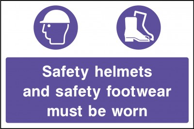 Safety helmets and footwear sign