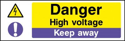 Danger high voltage keep way sign