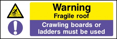 Fragile roof use crawler boards sign