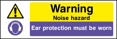 Noise hazard ear protection sign