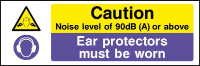 Noise level ear protection must be worn sign