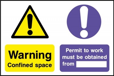 Confined space permit to work sign