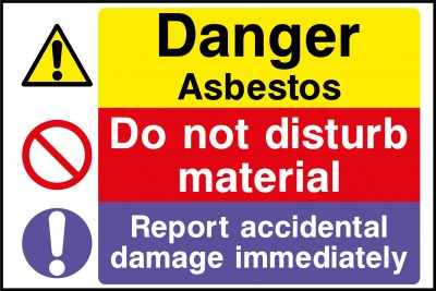 Asbestos do not disturb material sign