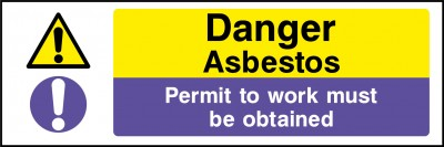 Asbestos permit to work sign