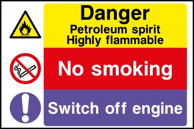 Petroleum no smoking sign