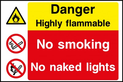 Highly flammable no smoking sign