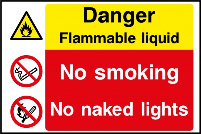 Flammable liquid no smoking sign