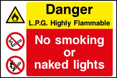 L.P.G flammable liquid no smoking sign