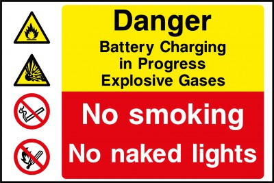Battery charging explosive gasses sign