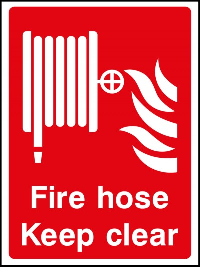 Fire hose keep clear sign