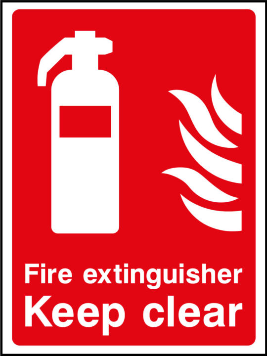 fire extinguisher keep clear sign health and safety signs